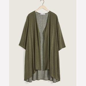 Penningtons Green Kimono Shawl Cover-Up Top Plus
